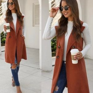 Other - Solid Double Breasted Waterfall Collar Trench Vest